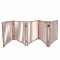 """5/3 Panel Pine Wood 17.5"""" H Adjustable Pet Gate Bay Barrier Cat Dog Safety Fence"""