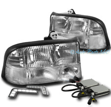 98-04 GMC SONOMA/01 JIMMY CRYSTAL HEADLIGHTS LAMP CHROME W/DRL LED SIGNAL+6K HID