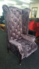 Chesterfield Highback Queen Anne Chair with Diamontes in Purple