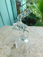Dancer LEAPING Ballerina  PRESS Crystal Glass Tall Statue Figurine  Sculpture