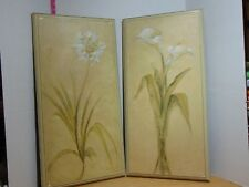 """Handcrafted Wood Wall Art Panels Agapanthas And Calla Lily 27 1/2""""x13 1/2"""" Each"""