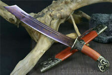 21' DAMASCUS FOLDED STEEL BLUE BLADE 龙虎宝刀 CHINESE SWORD DAO RED ROSE WOOD