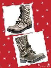 Ash Ryanna Size 37(6M US) Studded Leather Combat Boots Gray