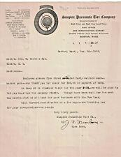 Letter Dec 22 1922 Simplex Pneumatic Tire Company Bull Dog Cord Tires Boston Ma