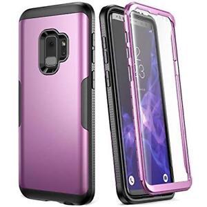 Samsung Galaxy S9 Case Drop Protection Hard Cover Screen Protector Purple/Black