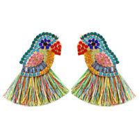 Ethnic Style Shiny Parrot Crystal Tassel Statement Drop Dangle Earrings Studs