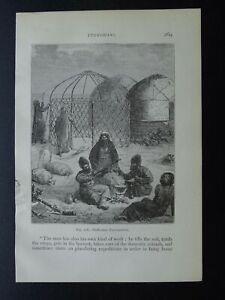 Syria TURKOMAN ENCAMPMENT & YURTS Original Victorian Print by Figuier c1893