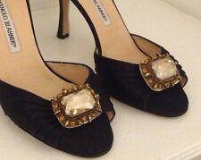 NEW Auth MANOLO BLAHNIK $755 Black Satin Sedarby Crystal Heel Shoes - 38.5 / 8.5
