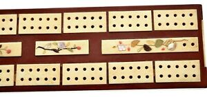 Japanese Shibayama Pearl Bovine Water Buffalo Bone Lacquer Cribbage Game Board