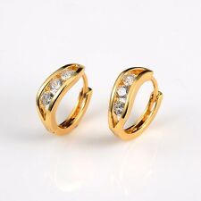 Charms Earrings 18k Yellow Gold Filled 15mm Wedding Hoops Jewelry Fashion Gift