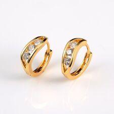 Women's Earrings Wedding Hoops 18k Yellow Gold Filled 15mm Fashion Jewelry HOT