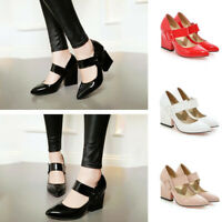 Women's Fashion Buckle Patent Leather Pointed Toe Thick High Heels Shoes Pumps