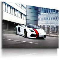 LAMBORGHINI AVENTADOR WHITE Sports Car Wall Art Canvas Picture   AU461 MATAGA