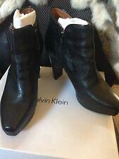 NIB Calvin Klein Ankle Platform Boots Margo Leather 9.5 M