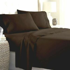 """Royal Bedding 4 PCs Sheet Set 15"""" Fitted Deep Pocket Chocolate Solid US Sizes"""