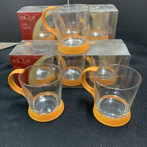 GLASS TEA CUPS WITH COLOURED HOLDER/HANDLE (SET OF 6)  ORANGE