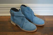 NEW Anthropologie Free People Las Palmas Blue Suede Leather Ankle Boots 37 7