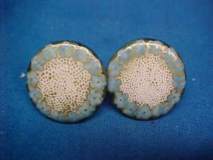 2-1903 ART NOUVEAU Design PORCELAIN BUTTONS w Hand PAINTED ENAMEL Blue +Gold