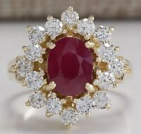 3.08CTW NATURAL RED RUBY AND DIAMOND RING 14K SOLID YELLOW GOLD