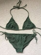 Khaki Green Halterneck Bikini Size 14 Tie Side And Back
