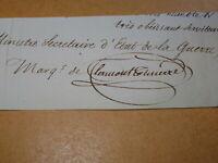 DUC Gaspard de CLERMONT-TONNERRE AUTOGRAPHE MINISTRE GUERRE RESTAURATION 1825