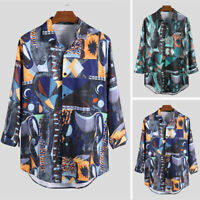 Men's Hippy Gypsy Floral Shirts Long Sleeve Button Up Blouse Beach Holiday Tops
