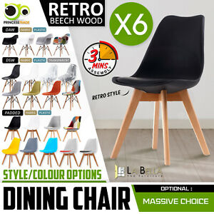 6 x Retro Replica PU Padded DSW Beech Dining Chairs Cafe Kitchen