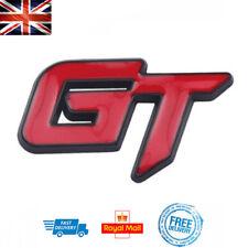 GT Boot / Side Badge 3D Metal RED Letters Black Emblem KIA Honda Golf GT Ford