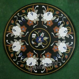 Floral Pattern Inlaid Coffee Table Top Round Shape Sofa Table Size 30 Inches