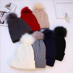 Ladies Hat Warm Thick Bobble Knitted Fleece Lined Fur Beanie Cap Winter Ski Hat