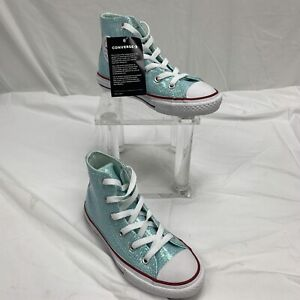Converse All Star Junior Kids High Top Sneakers Size 13 Sparkle Teal 663626C