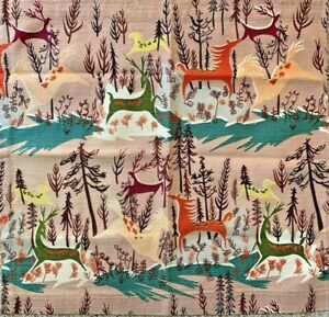 RARE Vintage 1950's Town & Country FANTASIA ATOMIC BARKCLOTH Fabric Horses Deer