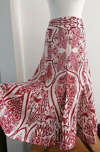 Beautiful Batik Style Print Maxi Skirt Cream And Red Principles uk16