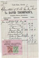 David Thompson's Complete House Furnishers Alnwick 1933 Stamps Receipt Ref 38198