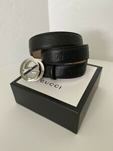 100% Authentic Men Gucci Black Leather Belt With Logo Size 36 / 38