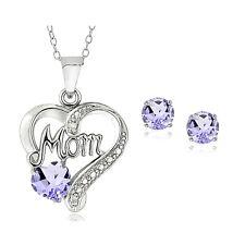 "925er Silber Amethyst & Diamant Akzent ""MOM"" Herz Halskette & Ohrring Set"