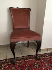 Stuhl Sessel Antik vintage Samt Rosa Mahagoni Zwei Stühle Set