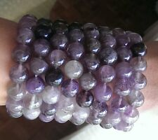 12 MM AUTHENTIC AURALITE 23 Crystal Bracelet. Amethyst Quartz Super Seven Sis.