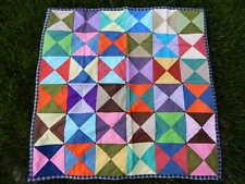 Vintage Handmade Lap Quilt Colorful Blocks Excellent Condition