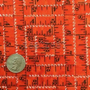 TAPE MEASURES Red Sewing Seeds Quilt Fabric by the Yard by Quilting Treasures