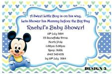 1 x MICKEY MOUSE BOY BLUE BABY SHOWER PERSONALISED INVITATIONS + FREE MAGNETS