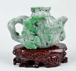 A Grade Green Jadeite Jade Teapot / Tea Pot Statue Sculpture w/ certificate