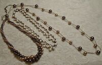 VINTAGE TO NOW BROWN & WHITE GLASS & LUCITE FAUX PEARL BEADED NECKLACE LOT