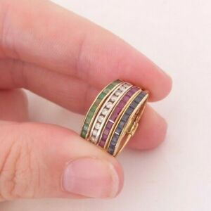18ct gold emerald sapphire ruby diamond 4 rings in one, art deco