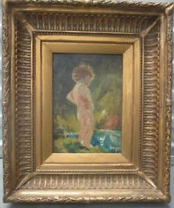 """""""Child by Pond"""" Painting Oil on Board Signed"""