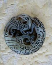 CARVED JADE MEDALLION / DISC DRAGON & PHEONIX