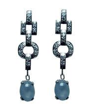 ART DECO Platinum Diamond Star Sapphire Earrings Estate
