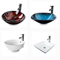 Modern Bathroom Vessel Sink Glass Ceramic Basin Bowl Washroom Faucet Drain Combo
