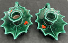 Vintage Lefton Christmas Holly and Berries Candle Holders (2)  #717 Japan