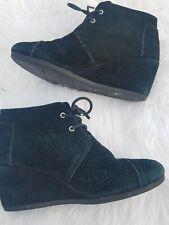 Toms Desert Wedge Booties Black Leather Womens 8.5